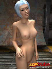 Slender chick is naked in the warehouse and shows her - Picture 9