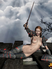 Slutty warrior chick ends up fucking her enemy on the - Picture 4