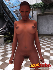Busty ebony girl strips and shows off her hair pussy. - Picture 9