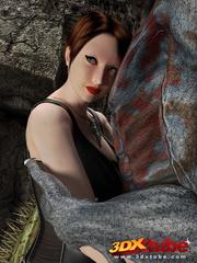 Busty brunette gets taken prisoner by a horny demon - Picture 1