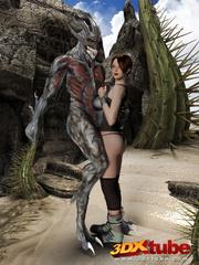 Busty brunette gets taken prisoner by a horny demon - Picture 3