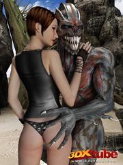 Busty brunette gets taken prisoner by a horny demon - Picture 4