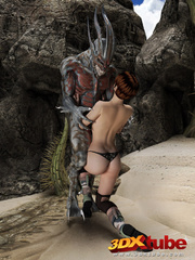 Busty brunette gets taken prisoner by a horny demon - Picture 5