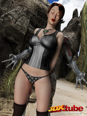 Busty brunette gets taken prisoner by a horny demon - Picture 6