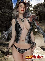 Busty brunette gets taken prisoner by a horny demon - Picture 8
