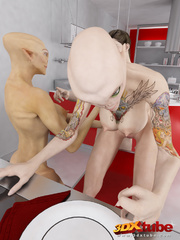 Two horny alien sluts get fucked by a human in the - Picture 3