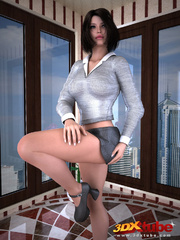 Pretty black haired girl in office attire strips in - Picture 5