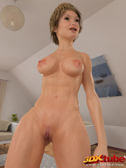 Short haired blondie shows off her nice bod on living - Picture 4