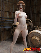 Red-lipped sinner with milky white skin shows off her hot body in an underground