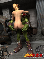 Orc monster gets pleasured by a pretty blonde on the - Picture 3