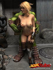 Orc monster gets pleasured by a pretty blonde on the - Picture 4