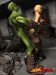Orc monster gets pleasured by a pretty blonde on the - Picture 5