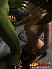 Orc monster gets pleasured by a pretty blonde on the - Picture 6