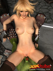 Orc monster gets pleasured by a pretty blonde on the - Picture 8