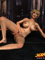 Hot brunette mutant shows off hug tits and wet pussy - Picture 9
