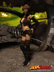 Post apocalyptic sexy babe with hot bod strips on - Picture 1