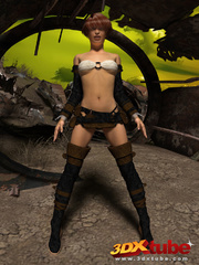 Post apocalyptic sexy babe with hot bod strips on - Picture 2
