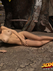 Post apocalyptic sexy babe with hot bod strips on - Picture 9