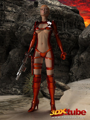 Raunchy hot space soldier in red shows off her curves - Picture 1