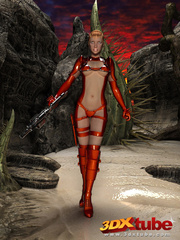 Raunchy hot space soldier in red shows off her curves - Picture 2
