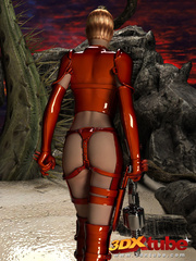 Raunchy hot space soldier in red shows off her curves - Picture 3