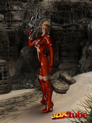 Raunchy hot space soldier in red shows off her curves - Picture 4