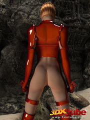 Raunchy hot space soldier in red shows off her curves - Picture 7