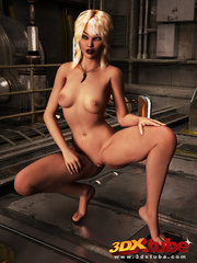 Blonde bombshell fingers herself in the space - Picture 4