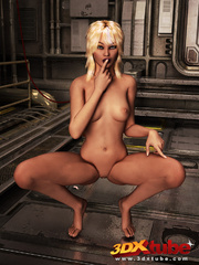 Blonde bombshell fingers herself in the space - Picture 5
