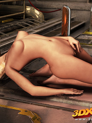 Blonde bombshell fingers herself in the space - Picture 6