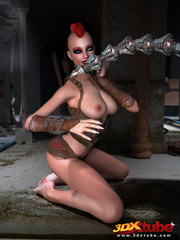 Big robot fucks hot punk chick and she enjoys it - Picture 2