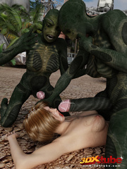 Alien monsters with big cocks double penetrate sexy - Picture 9