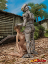 Hot blonde babe gets her wet pussy fucked by robot
