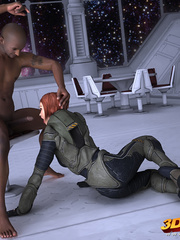 Shemale hottie gets fucked by big hard cock in space - Picture 2
