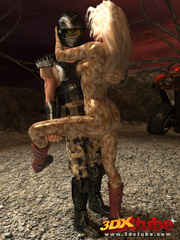 Alien babe with wet pussy gets fucked by traveller's - Picture 1