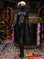 Shadow black alien babe with white hair pleasures her - Picture 1