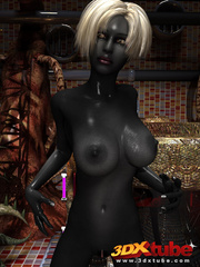Shadow black alien babe with white hair pleasures her - Picture 2