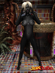 Shadow black alien babe with white hair pleasures her - Picture 3