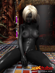 Shadow black alien babe with white hair pleasures her - Picture 6