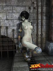 Curvy alien prisoner babe spreads legs and shows pink - Picture 3