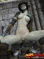 Curvy alien prisoner babe spreads legs and shows pink - Picture 5