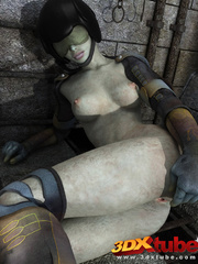 Curvy alien prisoner babe spreads legs and shows pink - Picture 7
