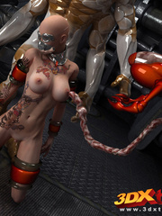 Bald hottie gets fucked by a big and small monster - Picture 3