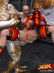 Bald hottie gets fucked by a big and small monster - Picture 6