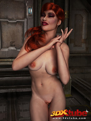 Redhead beauty lays down on metal floor to show pussy - Picture 1