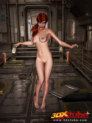 Redhead beauty lays down on metal floor to show pussy - Picture 3