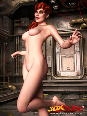 Redhead beauty lays down on metal floor to show pussy - Picture 5