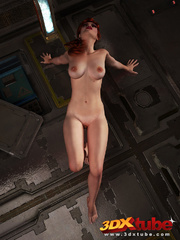 Redhead beauty lays down on metal floor to show pussy - Picture 7
