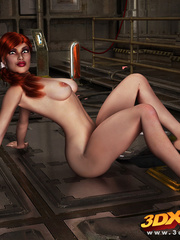 Redhead beauty lays down on metal floor to show pussy - Picture 8
