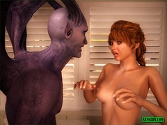 Slender babe gets fucked in the ass by a demon. - Picture 4